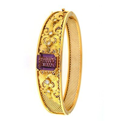 Mesh-Style Bangle Bracelet with Purple Stone & .15CTW Diamonds 18kt Yellow Gold