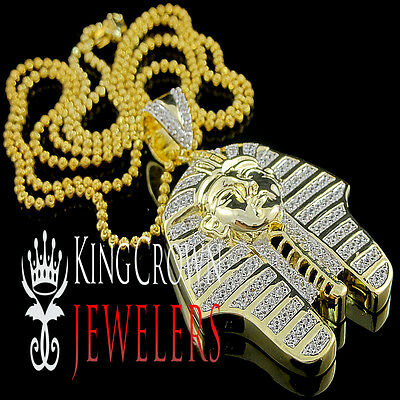 King Tut Tutankhamun Pendant Gold G/P Lab Diamond Egyptian Pharaoh Charm Chain