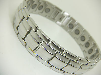 Mens Stunning Silver Magnetic Bracelet Arthritis Aid Gift Comes In Pouch Gift
