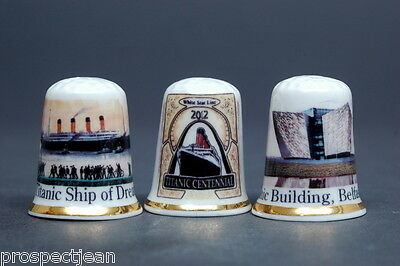 Titanic Centennial 2012 New Issue Boxed Set of 3 China Thimbles