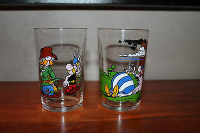 Lot 2 Verres à moutarde de collection ASTERIX Obelix ANCIEN VINTAGE #MH