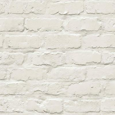 Grandeco Ideco Painted White Brick Stone Wall Designer Feature Wallpaper A10402