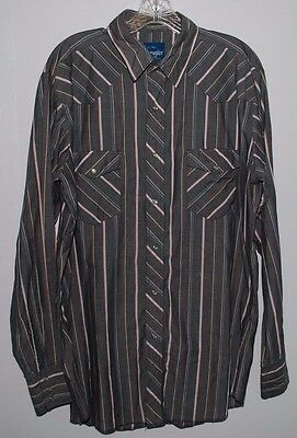 Vintage Western Shirt Wrangler Mens Large Tall Striped Snap Oxford Long Sleeve