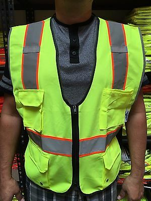 High Visibility Lime Two Tones Safety Vest , ANSI/ ISEA 107-2015