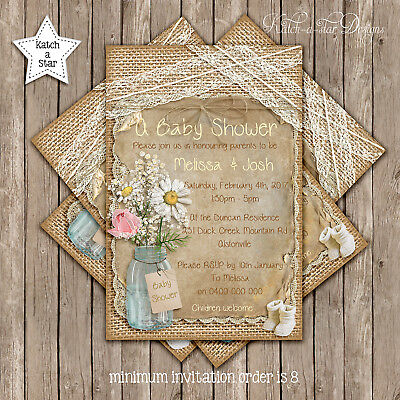 RUSTIC HESSIAN & LACE BABY SHOWER/WEDDING PARTY PERSONALISED INVITATION x 1