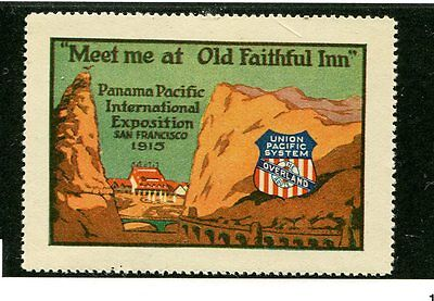 Vintage Poster Stamp PPIE 1915 Worlds Fair Union Pacific Railroad Old Faithful