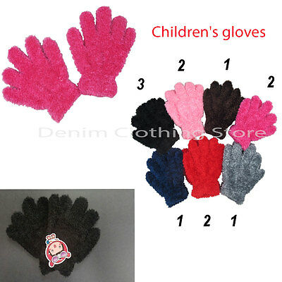 12~120pair Boy Girl Kid Fuzzy Cozy Soft Winter Gloves Warm Knitted Wholesale Lot