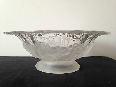 Frosted Glass And Silver Overlay Fruit Bowl