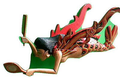 """Dewi Rice Goddess Flying Hanging Lady Hand Wood C+M 11"""" RED Mermaid new style"""
