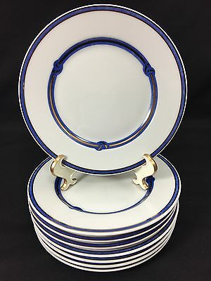 Christofle Rubanea Bleu Micro Gold Bread Plates Blue and Gold Knot Set of 8