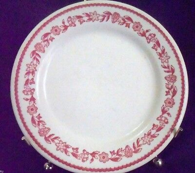 1 Kenmore Red Buffalo China Dinner Luncheon Plate White with Red Flowers USA