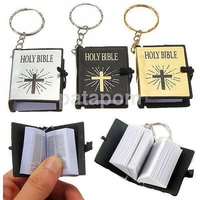 Christian Book Miniature Holy Bible with Latin Cross Cover Key Ring Keychain AU