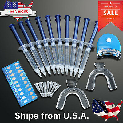 Teeth Whitening Kit 10 ea Tubes 2 Trays Bonus White LED Light Best 44% CP Gel