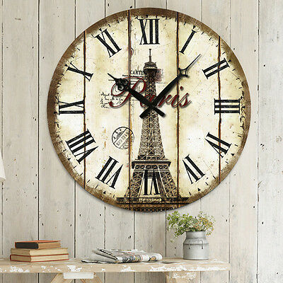 Retro Vintage Design French Country Paris Chic Home Kitchen Decor Wall Clock