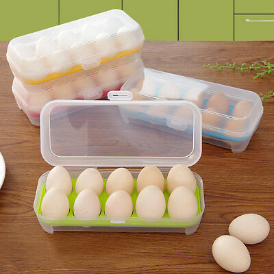 Single Layer Refrigerator Food 10 Eggs Airtight Storage Container Plastic Box