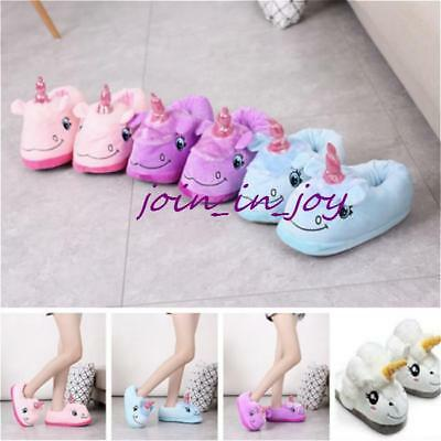 New Plush Winter Warm Soft Cute Men Women Home Indoor Unicorn Slippers Shoes JJ