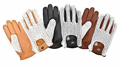 Driving Gloves Soft Premium Quality Leather Chauffeur Retro Style Crochet Back