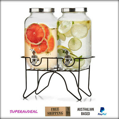 2x Drink Beverage Water Dispenser Stand Glass and Iron 3.5L Each Wedding Party