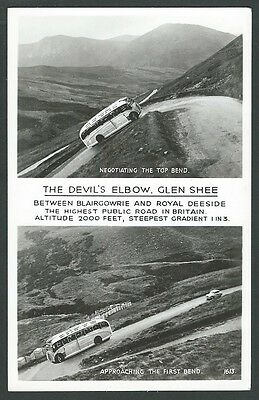 Glenshee Aberdeenshire The Devils Elbow Twin View c1950s Real Photo Postcard