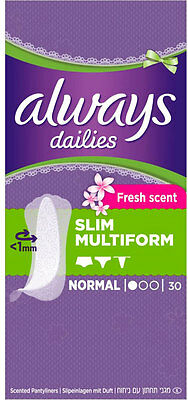 Always Dailies Pantyliners Incredibly Thin Flexistyle Freshness (30)