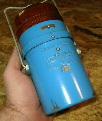 FEUERHAND Combi-Lampe W.Germany BATTERIE Laterne antike Auto Warnleuchte ca 1970