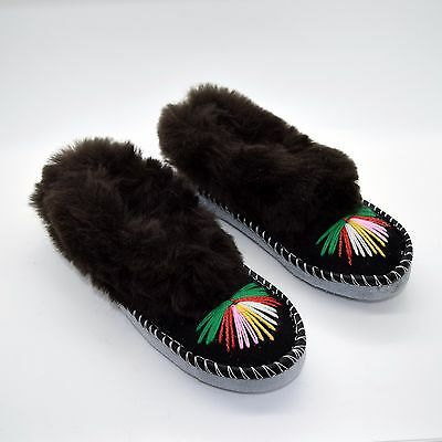 Natural Leather Sheepskin Slippers Moccasins Handmade Shoes for Womens Ladies DF