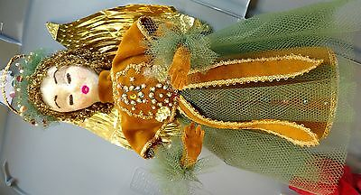 END* Antique CHRISTMAS TREE TOPPER Angel Halo Gold Suede sequin Tulle Foil WING