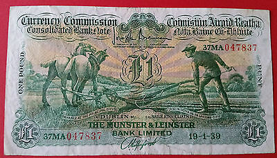 Rare  Ireland Super  £1  Pound  Ploughman  1939  The Munster And Leinster