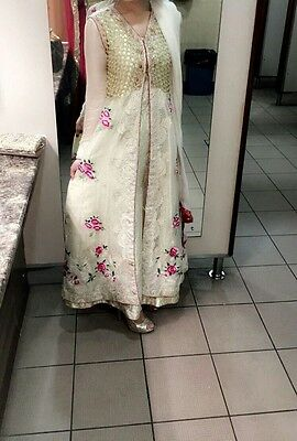 Gown Asian dress with embroided over jacket size 8