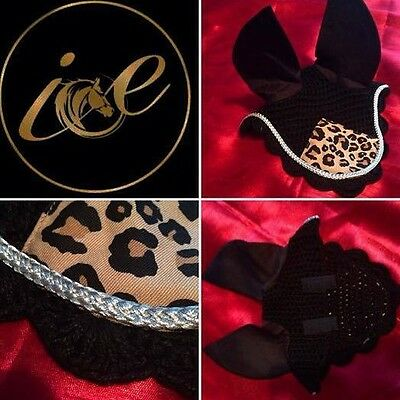 Horse ICE Ear Net Fly Veil with Piping Velcro Fitting Black Leopard Print