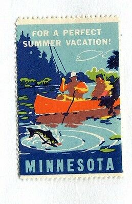 Vintage Poster Stamp Label MINNESOTA Perfect Summer Vacation canoe fishing