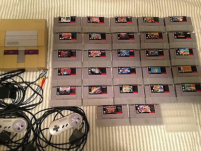 SUPER NINTENDO +27 SNES GAMES LOT Mega Man X2, Contra, TMNT, Metroid, and More!!