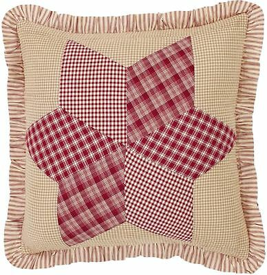 """Quilted Red Tan Patchwork Ruffled Euro Sham 26"""" Floor Pillow Cover Breckenridge"""