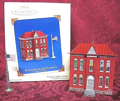 Hallmark 2003 Town And Country Tin Ornament Series~Schoolhouse And Flagpole