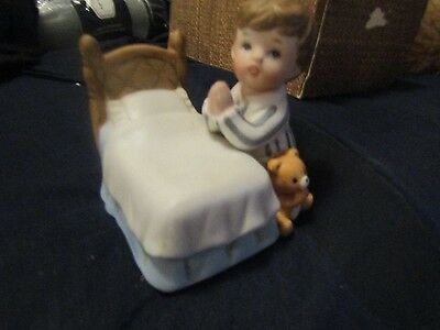 HOMCO Home Interiors Boy Praying By Bed Figurine Bisque Porcelain #1420 Vintage