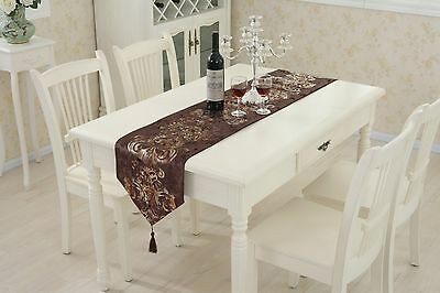 Coffee Table Runner Flocked Cushion Chenille Placemat Tassel Wedding Decor