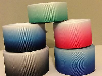"1m GRADIENT COLOURED GROSGRAIN RIBBON 1"" & 1.1/2"" wide  -  bows, cake, craft"