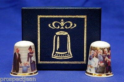 Prince William,Catherine,George & Charlotte In Canada Box Set of Thimbles B/172