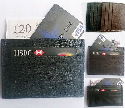 Genuine Leather CREDIT CARD Wallet Holder Black & BROWN Business ID Card SLIM