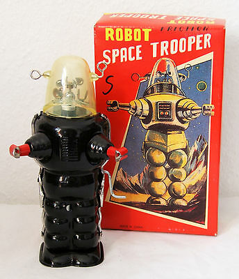 Tintoy, Blechspielzeug, Roboter, Robot Space Trooper, 17 cm, schwarz, OVP, China