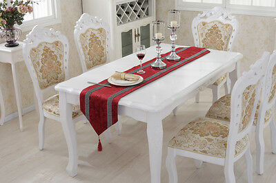 Red Diamante Chenille Placemat Flocked Damask Table Runner Set Wedding Decor