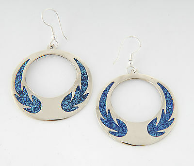 Tumi crushed turquoise round Mexican earrings  inlaid hand made  fairtrade
