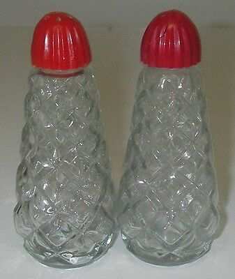 Anchor Hocking Glass WATERFORD Clear Waffle Salt & Pepper Shaker plastic lids