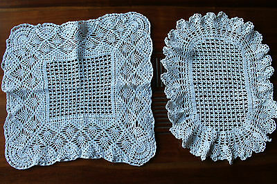 LOT DE 2 grands NAPPERONS  ovale / rectangle au crochet tricotés main blanc