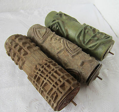 ۞   3 x  Antique  rubber roll paint  Wall  Texture Painting Roller