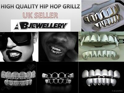 Silver Grillz Platinum Plated Teeth Grills Bling Hip Hop Gangsta Gangster Mouth
