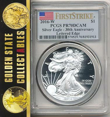 2016 W Proof Silver Eagle 30Th Anniversary Pcgs Pr70 Dcam First Strike Live!!