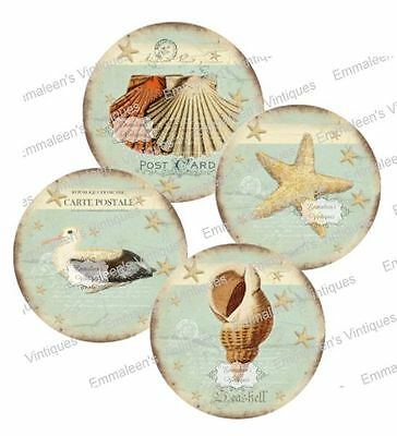 Vintage Image Grunge Beach Seashore Shells Labels Waterslide Decal LAB425