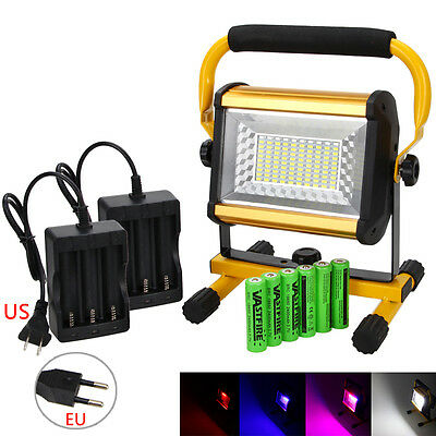 Rechargeable 100W RGB Color Changing 100LED Flood Light Outdoor Landscape Lamp