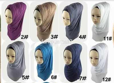 Pull On Ready Made One Piece cotton jersey Hijab Long Shawl Scarf Pashmina chemo